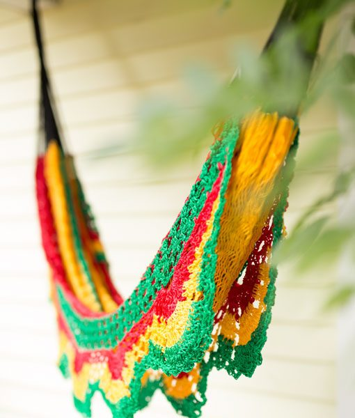 Rasta Hammock Hanging on the Patio