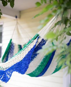 Blue and Green Double Hammock